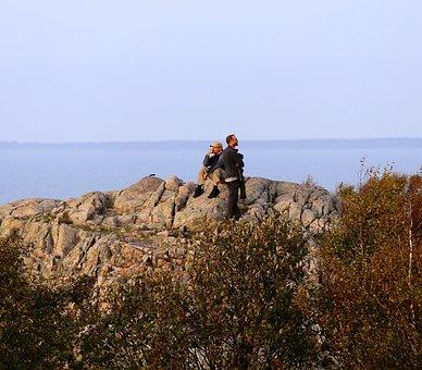 People, Views, Cliffs, Kullaberg, Sound