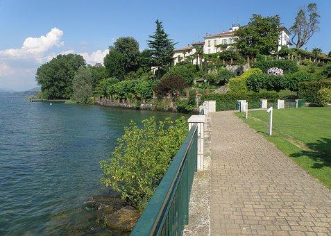 Ranco, Italy, Bay, Harbor, Water, Reflections, Sky