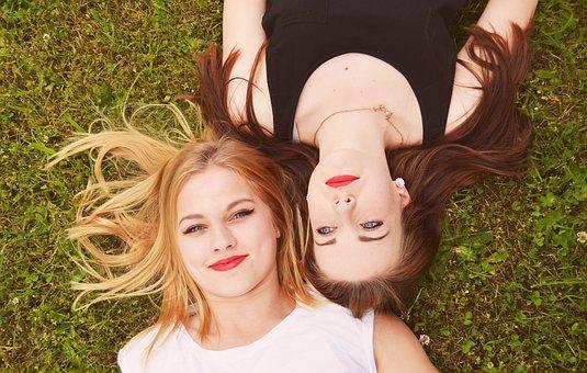 Blonde, Brown Hair, Girls, Women, Portrait, Friends