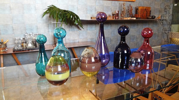 Decorative Objects, Colourful Vases, Glass Vases