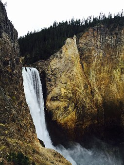 Yellowstone, Grand Canyon, Waterfall, Wyoming