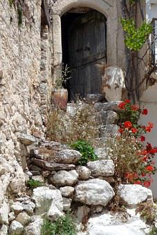 Crete, Greece, Stairs, Stone, Uins, Old