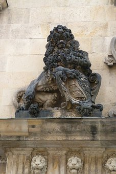 Dresden, City, Castle, Lion, Stone, Statue, Socket, Fig
