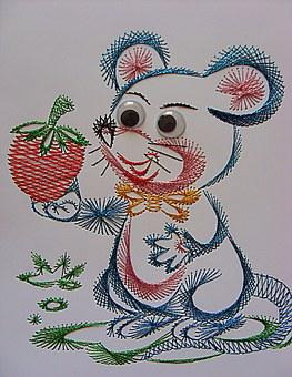 Mouse, Image, Chit, Children, A Fairy Tale, Embroidery