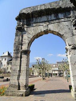 Aix-les-bains, Arch, France, Building, Ruin, Old