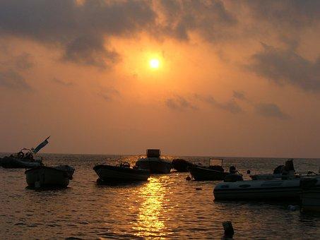 Boats, Sunset, Sea, Evening, Sicilian Sunset, Island