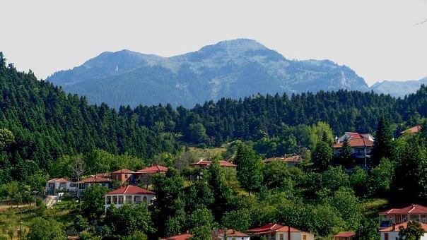 Greece, Karditsa, Neochori, Village, Mountains, Forest