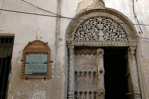 Doorway, Stonetown, Arch, Zanzibar, Stonework, Stone
