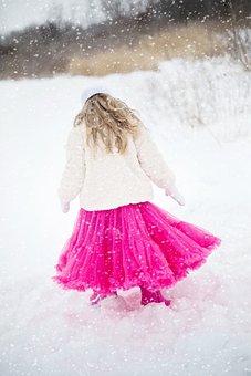 Girl, Little Girl, Snow, Tutu, Pink Tutu, Winter