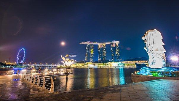 Singapore, Merlion, Marina Baysand