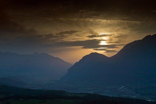 Mountains, Sunset, Alps, Inn Valley, Innsbruck, Austria