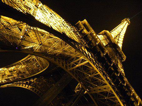 Paris, Night, Lights, Eiffel Tower, Gold
