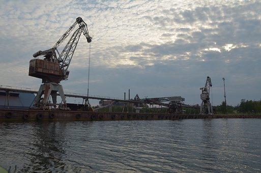 Crane, Factory, Port, Koverhar, Evening, Water, Summer