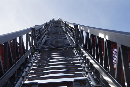 Turntable Ladder, Fire, Grey, Sky, Fire Truck, Delete