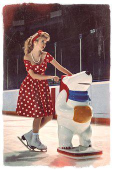 Girl, Ice, Girl On Ice, Skates, Teddy-bear, Model