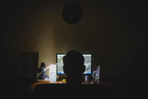 Work, Desk, Computer, Night, Hacker, Anonymous, Office
