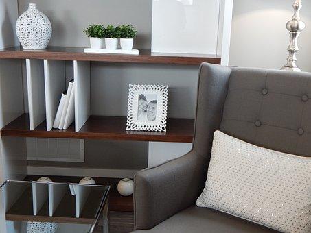 Shelves, Book Shelves, Chair, Armchair, Living Room