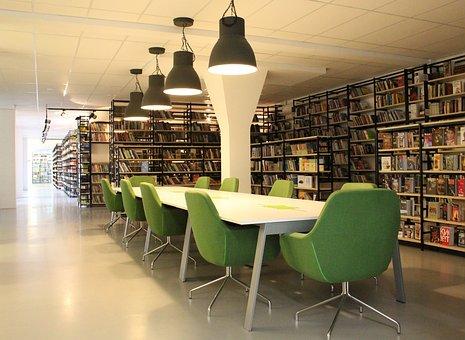 Library, Books, Corridor, Culture, Shelves, Table