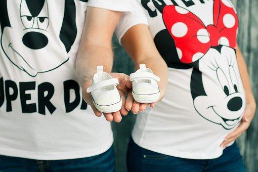 Pregnancy, Baby's Bootees, Mickey Mauz, Family, Love