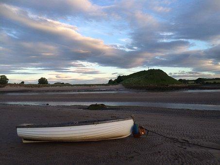 Alnmouth, Northumberland, Estuary, Aln, Boat, Sand