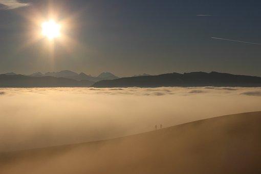 Sun, People In The Sea Of Fog, Mountain Landscape