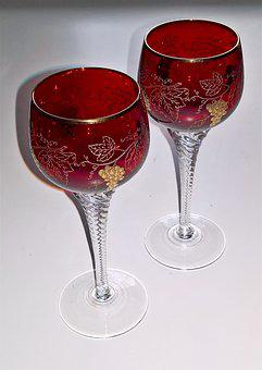 Glasses, Drink, Red Wine Glasses, Crystal, Ground