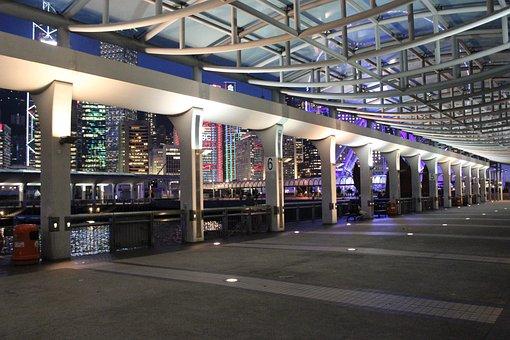 Hong Kong, Central, Pier, Night View