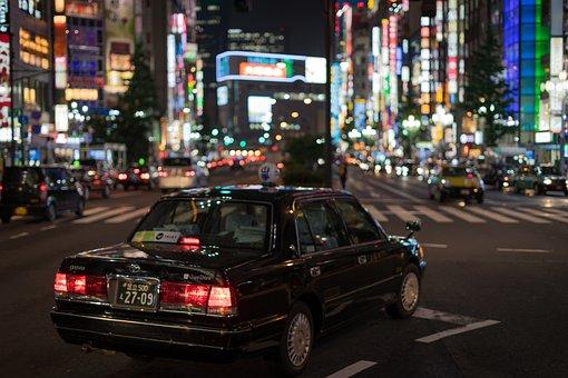 Asian, Car, Japan, Lights, Night, People, Shinjuku