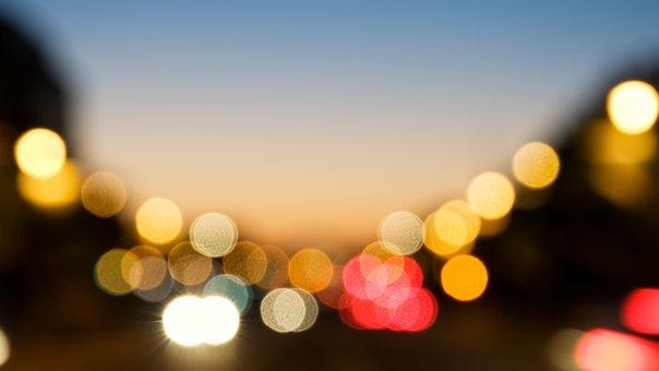 Night View, Color, Light, Bokeh, Lignt, City, Street