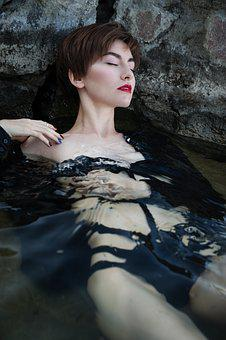 Dvushka, Sea, Water, Red Lips, Wet, Short Hair