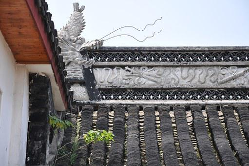 Dragon, Eaves, Shanghai, Decoration, Roof, Asian Style