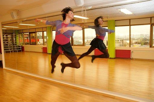 Dance, Gymnastics, Mirror, Jump