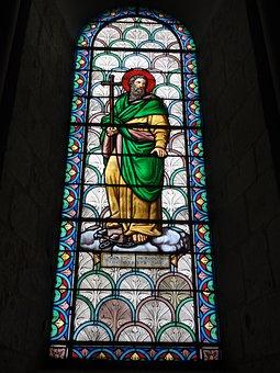 Basilica, Saint Eutrope, Saintes, France, Stained Glass