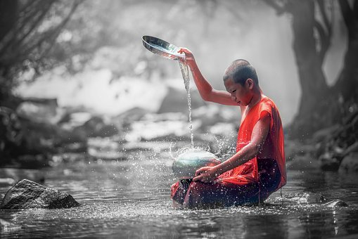 Color Splash, Monk, Forest, Ancient, Asia, Buddhism
