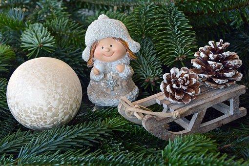 Christmas, Girl, Fig, Snow Ball, White, Cap
