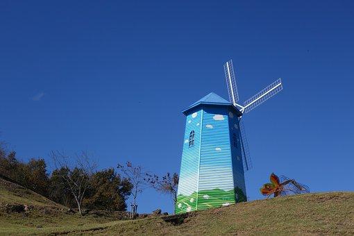 Windmill, Farm, Blue Sky, Mill, Paint, Wind
