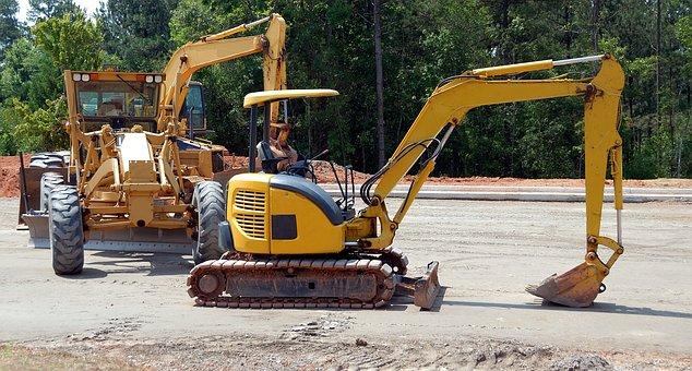 Construction Site, Heavy Equipment, Backhoe, Bulldozer