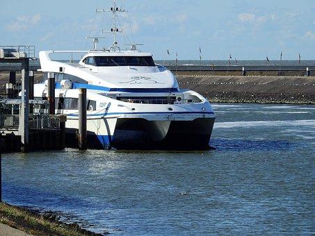 Ferry, Ship, Speedboat, Boot, Sea, Channel, Port