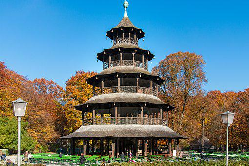Munich, English Garden, Chinese Tower, Building