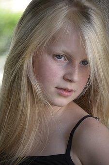 Girl, Freckles, Close, Eyes, Long Hair, Blond