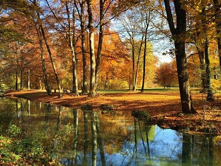 Munich, English Garden, Autumn, Bavaria, Park, Eisbach
