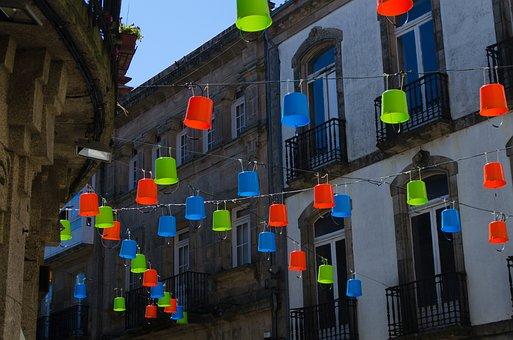 Santiago, Cube, Installation, Art, Green, Blue, Orange