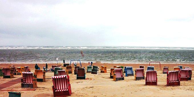 Beach, North Sea, Clubs, Empty, Sand, Evening, Rest