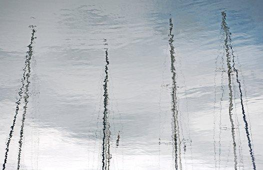 Reflection, Mast, Water, Sailboat, Yacht, Rigging