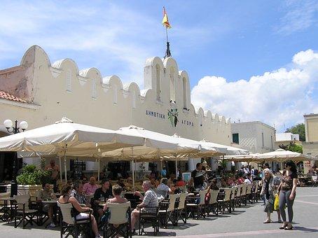 Kos, Market, Greek Island, City, Market Hall, Cafe