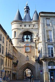 Large Bell, Bell, Bordeaux, Door, Arc, Street, Clock
