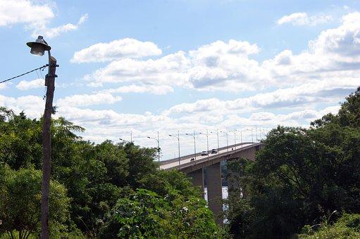 River, Rio Paraguay, Bridge, Jungle, Sky, Overshadowed
