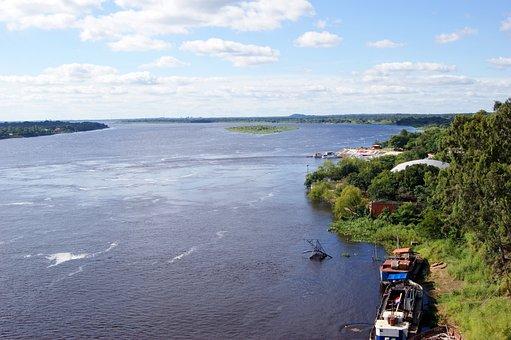 River, Rio Paraguay, Ship, Water, Jungle, Paraguay
