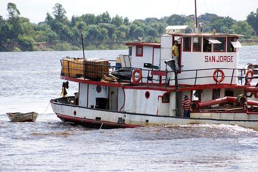 Ship, River, Rio Paraguay, Water, Human, Paraguay