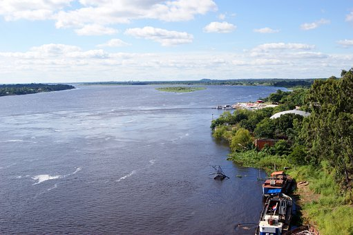 River, Rio Paraguay, Ship, Water, Jungle, Paraguay